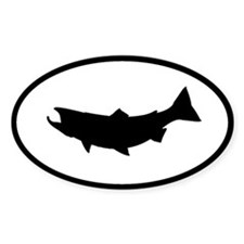 fish fishing oval sticker
