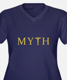 MYTH Women's Plus Size V-Neck Dark T-Shirt