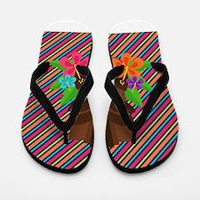Tiki Mask on Stripes Flip Flops