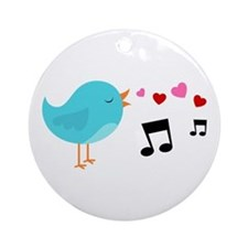 Singing Blue Bird Ornament (Round)