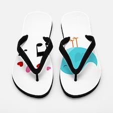 Singing Blue Bird Flip Flops