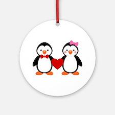 Cute Penguin Couple Ornament (Round)