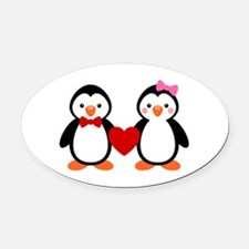 Cute Penguin Couple Oval Car Magnet