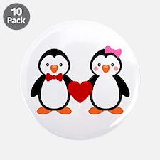 """Cute Penguin Couple 3.5"""" Button (10 pack)"""