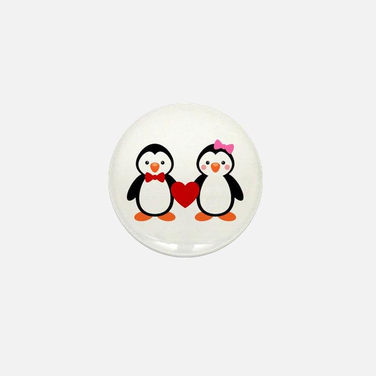 Cute Penguin Couple Mini Button