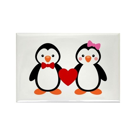 Cute Penguin Couple Rectangle Magnet (100 pack)