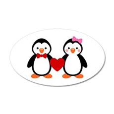 Cute Penguin Couple Wall Decal