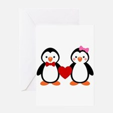 Cute Penguin Couple Greeting Card