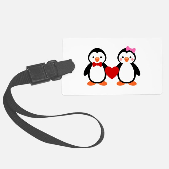Cute Penguin Couple Luggage Tag
