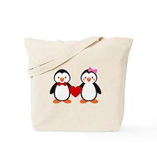 Cute Penguin Couple Tote Bag