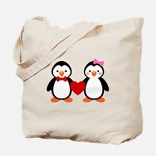 Cute Penguin Couple Tote Bag