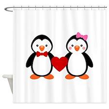 Cute Penguin Couple Shower Curtain