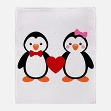 Cute Penguin Couple Throw Blanket