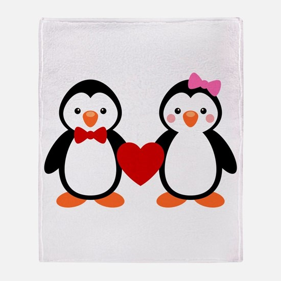 Cute Penguin Couple Throw Blanket
