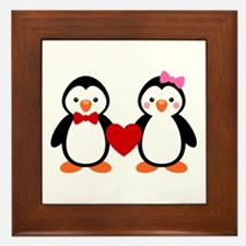 Cute Penguin Couple Framed Tile