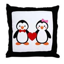 Cute Penguin Couple Throw Pillow