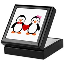 Cute Penguin Couple Keepsake Box