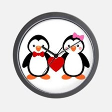 Cute Penguin Couple Wall Clock