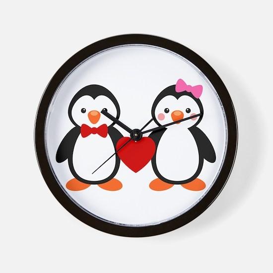 Cute Penguin Couple Wall Clock