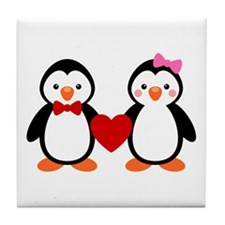 Cute Penguin Couple Tile Coaster