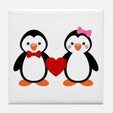 Cute Penguin Couple Tile Coaster