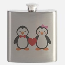 Cute Penguin Couple Flask