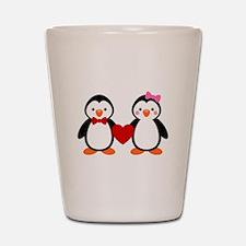 Cute Penguin Couple Shot Glass