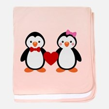Cute Penguin Couple baby blanket