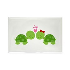 Turtles in Love Rectangle Magnet