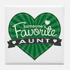 Favorite Aunt Green Tile Coaster