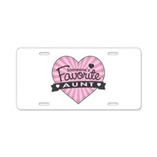 Favorite Aunt Pink Aluminum License Plate