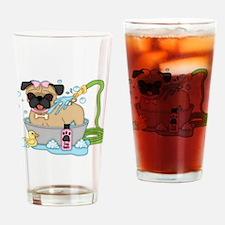 Cute Pug Dog Bath Time Drinking Glass