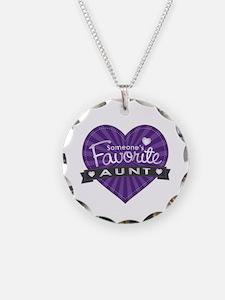Favorite Aunt Purple Necklace Circle Charm