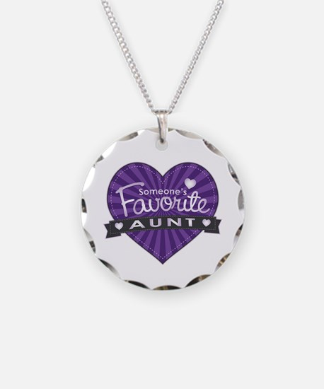 Favorite Aunt Purple Necklace Circle Charm
