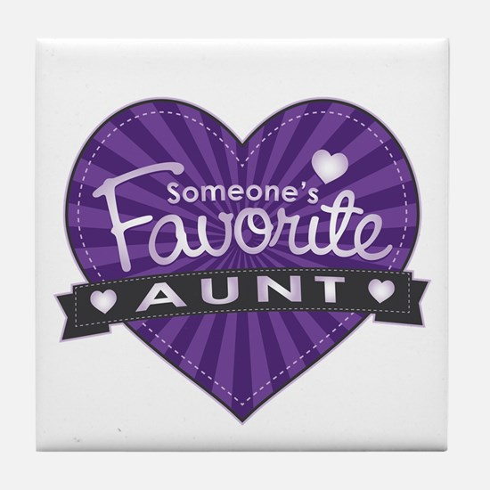 Favorite Aunt Purple Tile Coaster