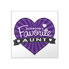 """Favorite Aunt Purple Square Sticker 3"""" x 3"""""""