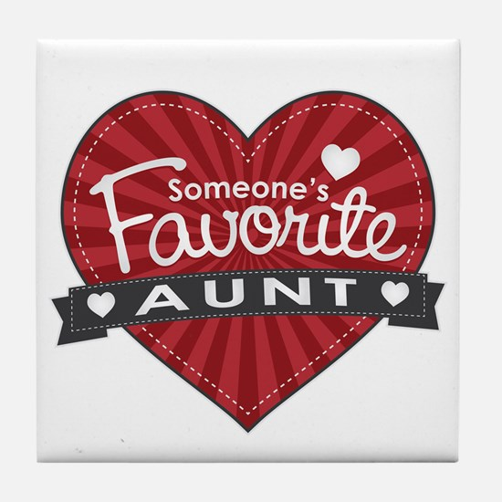 Favorite Aunt Red Tile Coaster