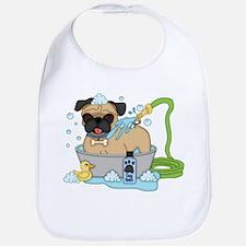 Male Pug Dog Bath Time Bib