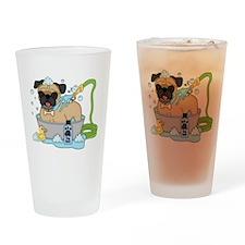 Male Pug Dog Bath Time Drinking Glass