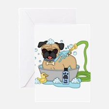 Male Pug Dog Bath Time Greeting Card