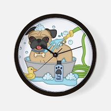 Male Pug Dog Bath Time Wall Clock