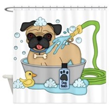 Male Pug Dog Bath Time Shower Curtain