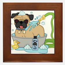 Male Pug Dog Bath Time Framed Tile