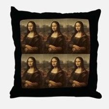 Vintage Mona Lisa Throw Pillow