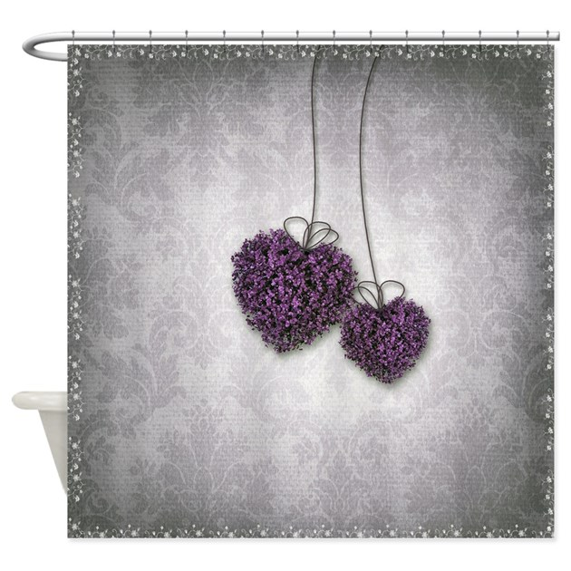 purple and grey shower curtain.  Purple Hearts Shower Curtain by ShowerCurtainShop