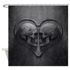 Gothic Skull Heart Shower Curtain