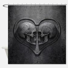 Gothic Skull Heart Shower Curtain