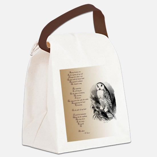 Owl with poem Canvas Lunch Bag