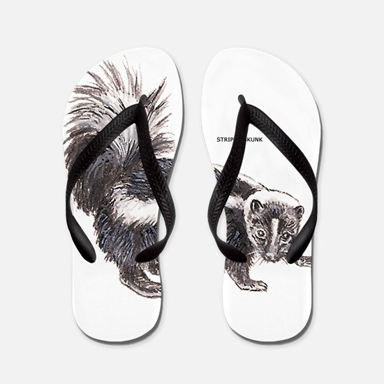 Striped Skunk Flip Flops