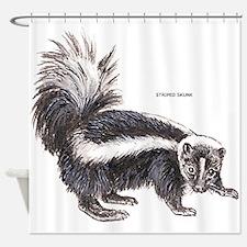 Striped Skunk Shower Curtain
